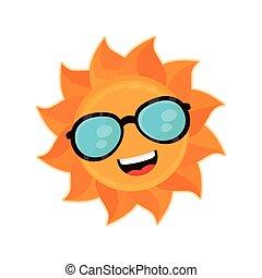 sunglass, heureux, soleil, sourire, rigolote
