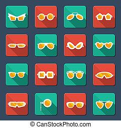 Sunglasses and glasses icons.Vector flat design symbols