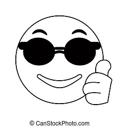 sunglasses and thumb emoticon style thin line