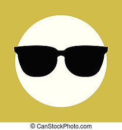 Sunglasses black Icon on yellow background. vector illustration