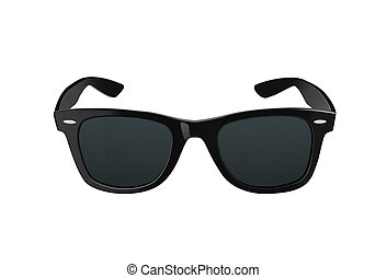 Black sunglasses or shades, with plastic rims and tinted lenses, both modern and retro fashion. Isolated on a white background with clipping path.