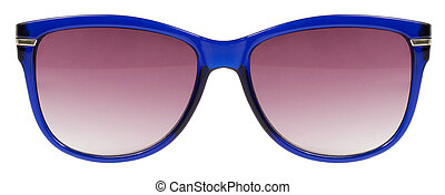 Sunglasses blue frame and red color lens isolated against a clean white background nobody