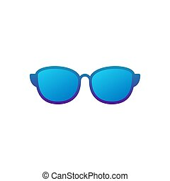 Sunglasses blue vector icon on white background