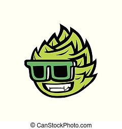 sunglasses, brygning, illustration, mascot, vektor, hop, logo, smil, køle, ikon