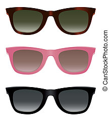 Classic sunglasses with turtle shell, pink and black frames