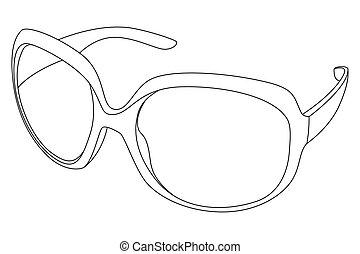 sunglasses - Vector black outline sunglasses on white...