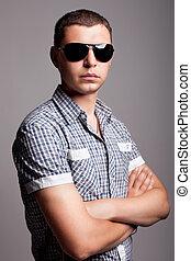 sunglasses, człowiek, poważny, młody