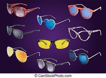 Sunglasses drawn in a polygon style