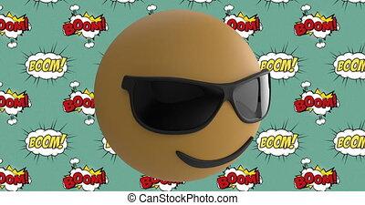 Sunglasses face emoji over boom text on speech bubble ...
