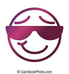 sunglasses funny smiley emoticon face expression gradient style icon