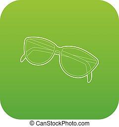 Sunglasses icon green vector