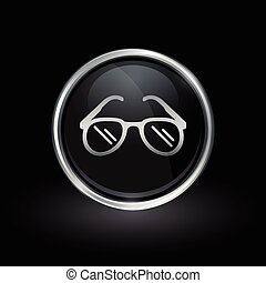 Sunglasses icon inside round silver and black emblem