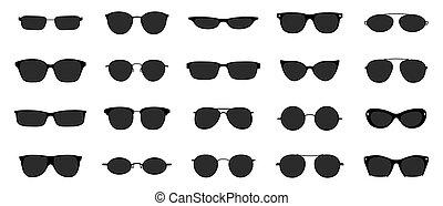 Sunglasses icon set. Black glasses optic frames silhouette. Sun lens ocular with plastic rims. Vector illustration