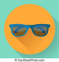 Sunglasses icon with long shadow. Flat design style