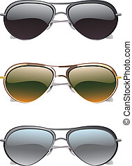 Sunglasses Icons - Set of colorful sunglasses on white...