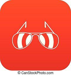 sunglasses, ikona, cyfrowy, czerwony