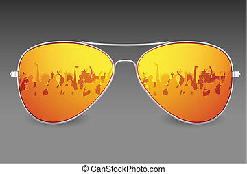 Sunglasses - illustration of dancing people on screen of...