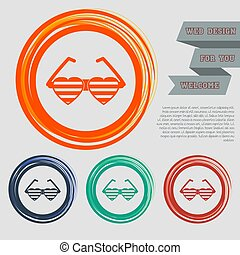 sunglasses in the form of heart icon on the red, blue, green, orange buttons for your website and design with space text. Vector