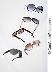sunglasses isolated in various colors