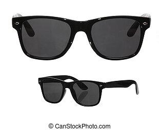 sunglasses, klasyk, odizolowany, dwa, viewpoints, biały