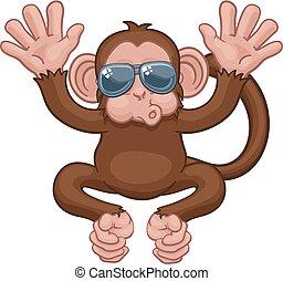 sunglasses, małpa, falować, zwierzę, rysunek, maskotka