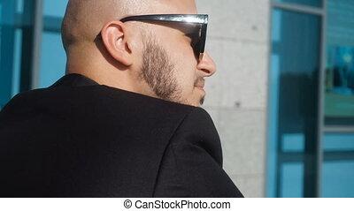 sunglasses, modny, młody, aparat fotograficzny, czarnoskóry, spojrzenia, człowiek