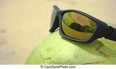 Sunglasses on coconut
