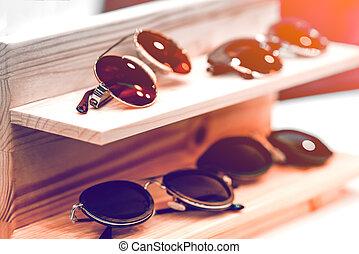 Sunglasses on the shelf