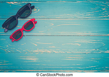 Sunglasses on Vintage Background