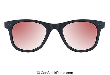 Sunglasses on white background isolated with black frame