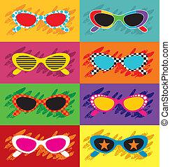 Pop art sunglasses illustration.