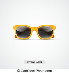 Sunglasses. Realistic 3d yellow sunglasses icon isolated on white. Vector