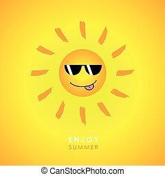sunglasses, słońce, żółte tło, uśmiechnięty szczęśliwy