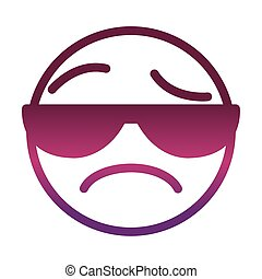 sunglasses sad funny smiley emoticon face expression gradient style icon