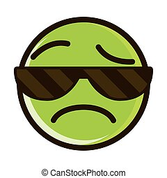 sunglasses sad funny smiley emoticon face expression line and fill icon