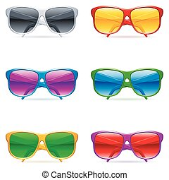 Set of 6 color sunglasses, with color glasses.