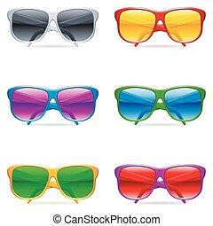 Sunglasses set. - Set of 6 color sunglasses, with color ...