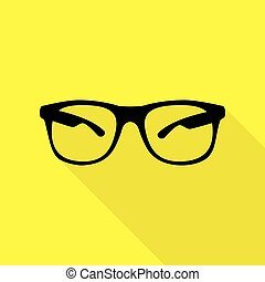 Sunglasses sign illustration. Black icon with flat style shadow path on yellow background.
