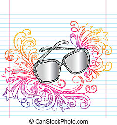 Sunglasses Sketchy Summer Doodle - Hand-Drawn Summer...