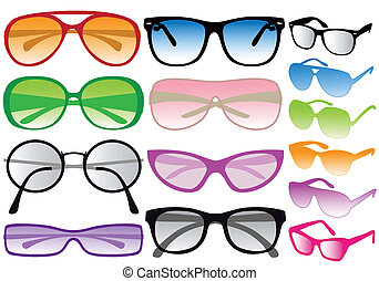 sunglasses, vector - set of colorful sunglasses, vector