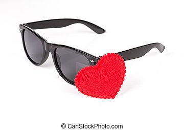 sunglasses wayfarer with heart symbol over white