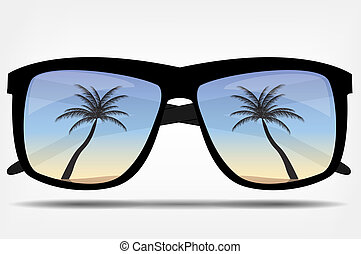 Sunglasses with a palm tree vector illustration