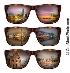 Sunglasses with beautiful panorama of Hong Kong