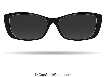 Sunglasses with black frames, isolated on a white background