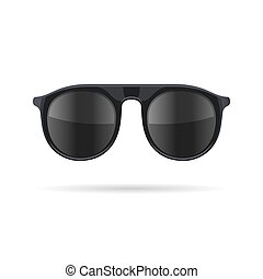 Sunglasses with Black Glasses on White Background. Vector