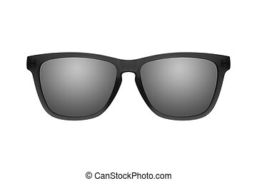 Sunglasses with black lenses isolated on white background