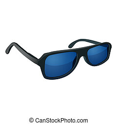 Sunglasses with blue glass isolated on white background