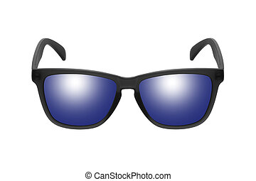 Sunglasses with blue lenses isolated on white background