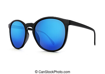 sunglasses with blue lenses mirror isolated on white background