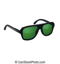 Sunglasses with green glasses isolated on white background